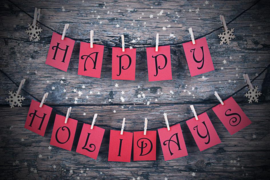 Happy Holidays sticky notes